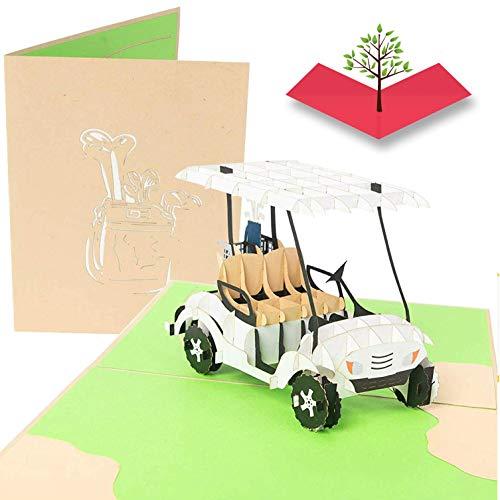 PopLife-Golfwagen Pop Up Karte - 3D-Karte für Vatertage, Glücklicher Jahrestag, Valentinstagskarte für Ihn, Geburtstag, Ruhestand - Golfgeschenk für Mann, Karte für Golfspieler - für Sohn, Vater