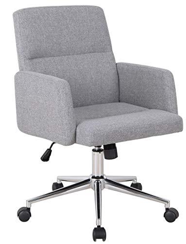 SixBros. Bürostuhl, Schreibtischstuhl mit Armlehne, Drehstuhl für's Büro oder Home-Office, stufenlos höhenverstellbar & leichtläufig, niedrige Rückenlehne, Sitzbezug aus Stoff, grau 1320L/8324