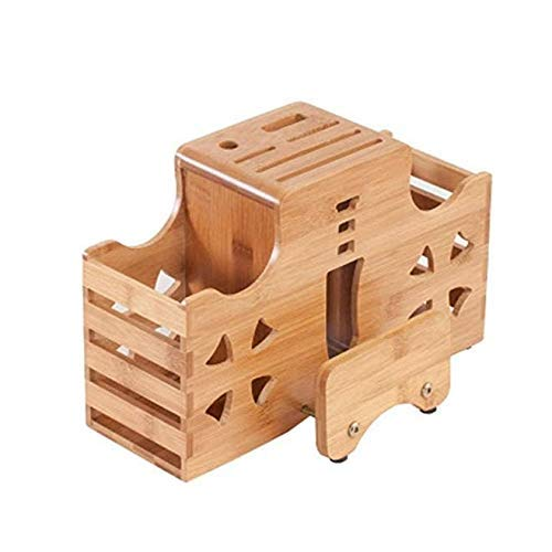 Bamboo Universal messenblok Zonder Knife Antislip keukenmes Holder Shelf Rack Storage Bamboe messenblok Cutting for Chef Knife Set ZHW345