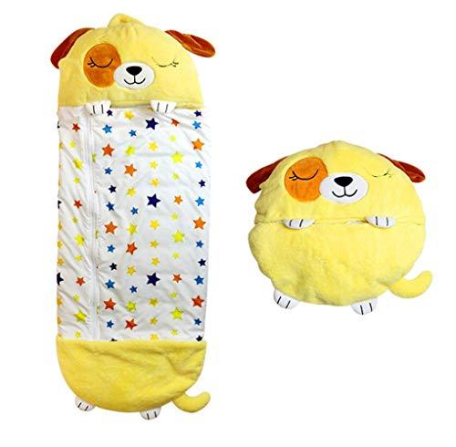 Saco de dormir para niñas y niños, almohada y saco de dormir, cómodo, bolsas de dormir, súper suave, cálido, para todas las estaciones, 55 x 17.7 pulgadas (amarillo)