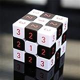 WANDE Velocidad En Tres Dimensiones del Cubo De Rubik, Cubos del Rompecabezas del Cubo De Rubik ABS Blanco Y Negro, Tablero De Ajedrez UV Imprime Juguetes Educativos Cubo De Rubik