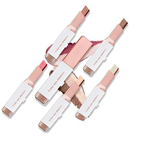 LODIIYAR Zweifarbiger Lidschattenstift mit Farbverlauf, zweifarbiger Lidschatten-Make-up-Stift mit Schimmercreme, Lazy Two-Tones Eyeshadow Holiday Edition für Make-up-Anfänger (6Pcs)