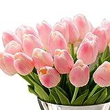 Fleur artificielles GKONGU Lot de 10 Fleur de tulipe Pour décoration de mariage,Décoration d'intérieur-Rosa