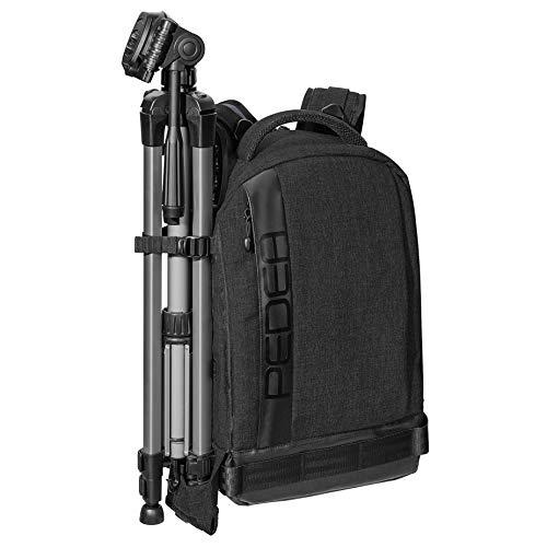 PEDEA DSLR-Kamerarucksack Fashion Fotorucksack für Spiegelreflexkameras mit wasserdichtem Regenschutz und Variabler Inneneinteilung (Rucksack, schwarz)