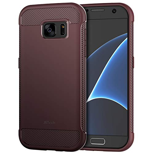 JETech Case for Samsung Galaxy S7 Protective Cover with Shock-Absorption and Carbon Fiber Design (Plum)