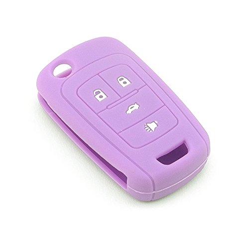 iSaddle Silicone Protecting Vehicle Remote Start Key Case Cover Fob Holder for Chevrolet Camaro Cruze Equinox Malibu Orlando Sonic (Purple Color)