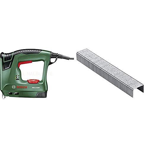Bosch Elektrotacker PTK 14 EDT, 1000 Klammern, Karton (30 min-1 Schläge, Nägel: 14 mm, 1,1 kg) & 2609255820 Tackerklammern, 8 mm