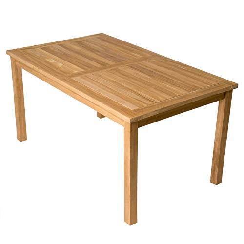 Divero Esstisch Gartentisch Balkontisch - Holztisch Teak für den Innen- und Außenbereich – rechteckig groß witterungsbeständig massiv behandelt – 150 x 90 cm
