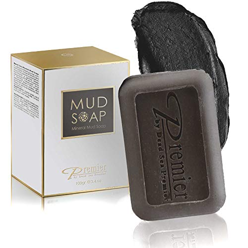 Premier Dead Sea Mineral MUD and salt Soap bar Natural body wash, face wash, hand soap, for all Skin Types. Therapeutic and Antibacterial, helps with Acne, Rosacea, Eczema and Psoriasis, 3.4 Oz