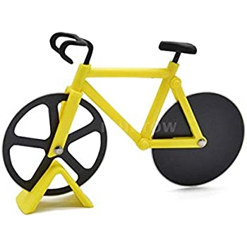 Cortador de pizza de acero inoxidable novedoso Bicicleta Amarilla: Amazon.es: Hogar