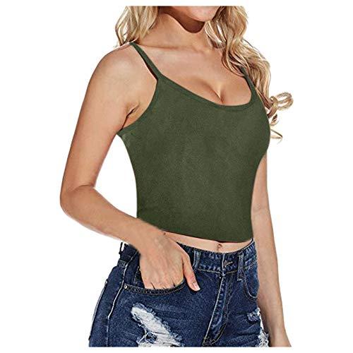 Yowablo Oberteil Tank top Oberteile Damen Weste Frauen Sommermode Lässig All-Match Einfarbiges T-Shirt Enge ( M,5grün )