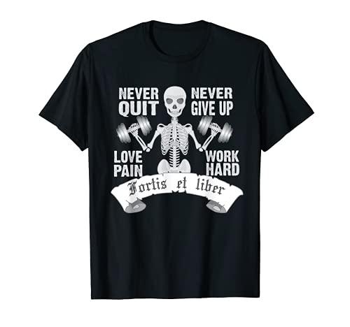 Fortis Et Liber Esqueleto Powerlifting Halterofilia Fitness Camiseta