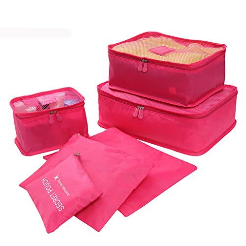 Yowablo Ultraleichte 6-teilige Packwürfel Reisegepäck-Organizer Wäschesack (6Stck,Rot)