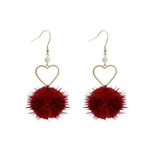 Pendientes para mujer, diseño de pompón esponjoso con forma de corazón y perlas de imitación, color rojo vino