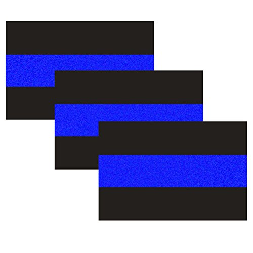 3 Pack Reflective Police Thin Blue Line Bumper Decal Stickers 4' x 2.6' | Compatible with Cars & Trucks, Honoring Police Law Enforcement Vinyl Window Laptop Tape