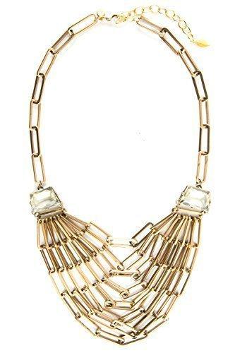 David Aubrey - collar de cadena de eslabones con brillantes de colour dorado claro - FNA319 - longitud 50-60 cm - chapado en oro