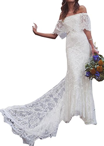 PearlBridal Lace Off Shoulder Mermaid Wedding Dress 2018 Cap Sleeves Long Bridal Gowns White-1 Size 18plus