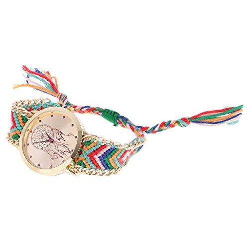 Nobranded Reloj de Pulsera Dorado con Trenzado de Lana Estilo Geneva Reloj de Pulsera con Elefante Y Atrapasueños - Oro 4