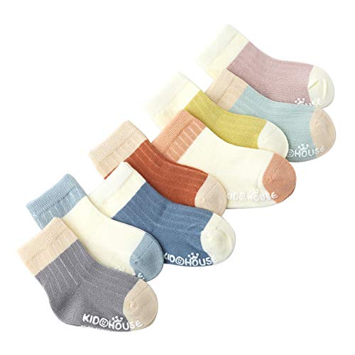 Belsmi 8 Pack Baby Socks Anti Slip Unisex Boy Girls Knee High Stocking Gifts Non Skid Soft Short Socks Toddler Newborn Infant Thick Warm Winter Socks (Style A - 8 Pairs, 1-3 Years)