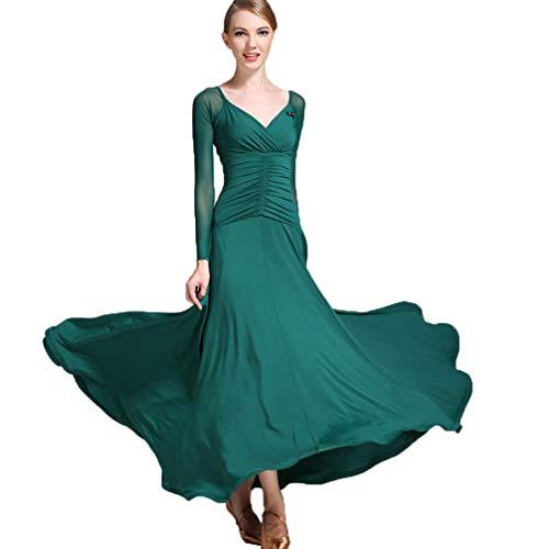 Mesh Langhülse V-Ausschnitt Ballsaal Tanz Kleidung für Mädchen, Tango Sozial Tanzabnutzung Standard Moderne Walzer Tanz Übungs Kleider, M