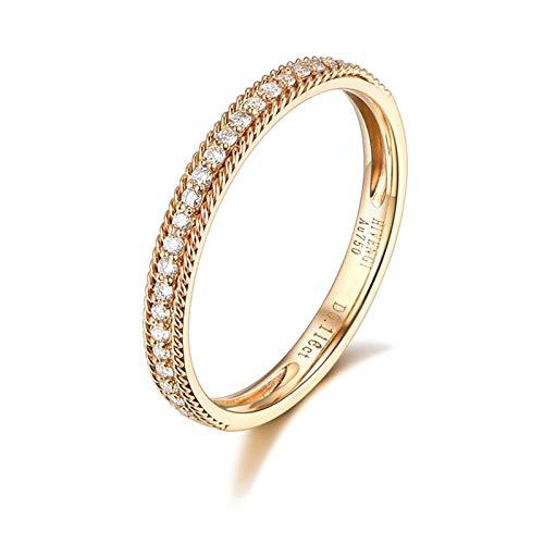 KnSam 18K Gold 750 Gelb Gold Ring Eheringe Frauen Goldringe Damen Echt Gold Einfacher Dünner Ring Damen Ring Mit 0.21Ct Diamant Gold