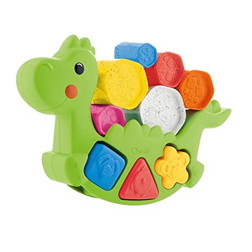 Chicco Dino Lino Juguete de Aplilación, Construcción y Equilibrio Para Bebés y Niños, Base Basculante, Diseño Dinosaurio Verde