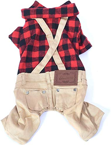 Companet Dog overalls Pet Clothes Dog Outfits Jumpsuit Ombre Black/Red Plaid Shirt Top with Overalls Puppy Clothes Dog Costume Beige Jeans Pants Jumpsuit for Small Dog Review