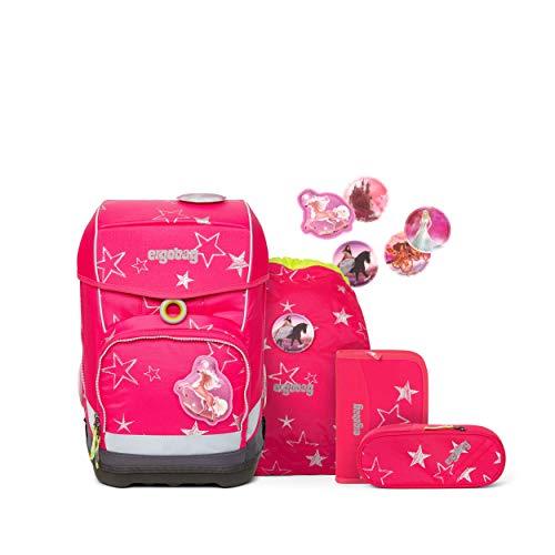 Ergobag cubo Light CinBärella, ergonomischer Schulrucksack, extra leicht, Set 6-teilig, extra leicht, 19 Liter, 780 g, Pinke Sterne