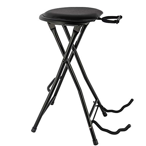 Eastrock Foldable Guitar Seat with Footrest High-Density Sponges Guitar Chair with Guitar Holder for Acoustic and Electric Guitars Foldable Guitar Stand Playing Stool
