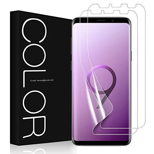 G-Color Galaxy S9 Protection écran [2 Pièces], [sans Erreur,sans Bulle][Coque Compatible][Liquide Installation], Souple TPU Film Protection écran pour Samsung Galaxy S9