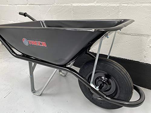 THECA STRONG 110L sand capacity strong heavy Duty black wheelbarrow/builders wheelbarrow/gardening wheelbarrow 200kg strength tested.