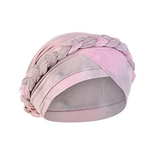 Watopi Damen Indien Hut Tie-Dye Braid Muslim Rüschen Krebs Chemo Hut Beanie Wrap Cap