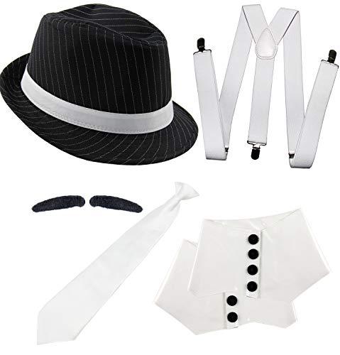 Foxxeo 20er Jahre Gangster Kostüm Set für Herren - Hosenträger Krawatte Hut Gamaschen Bart – für Fasching Karneval Motto-Party