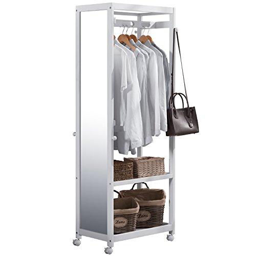 Vlush Free Standing Armoire Wardrobe Closet with Full Length Mirror, 67'' Tall Wooden Closet Storage Wardrobe with Brake Wheels,Hanger Rod,Coat Hooks,Entryway Storage Shelves Organizer- White