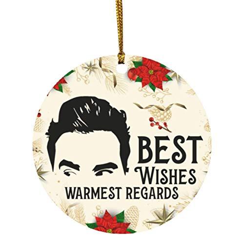 Best Wishes Warmest Regards Funny David Rose Circle Christmas Tree Ornament Keepsake