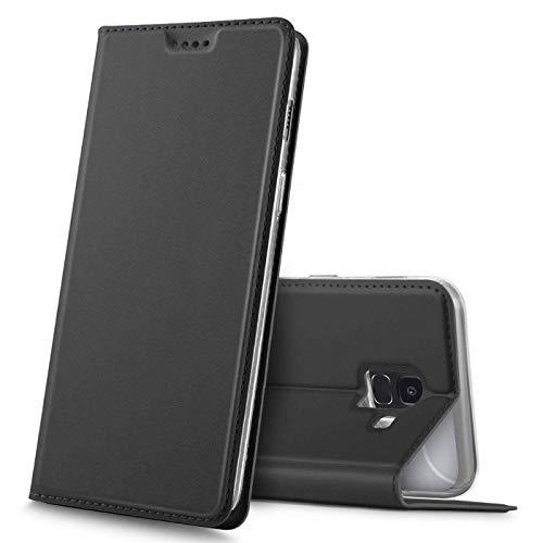 Verco Handyhülle für Galaxy J6, Premium Handy Flip Cover für Samsung Galaxy J6 2018 Hülle [integr. Magnet] Book Hülle PU Leder Tasche, Schwarz