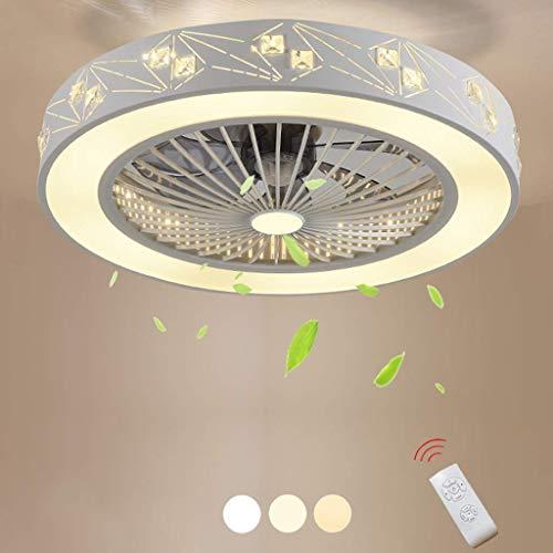Smotly Led-plafondventilator, licht met afstandsbediening, dimbaar, stille ventilator, kroonluchter, hoofdverlichting, decoratieve plafondventilator, lamp, 50 cm