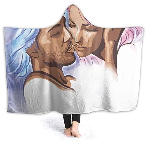 Manta portátil para hombres y mujeres, ilustración artística de una pareja joven apasionada con pelo abstracto en el amor, manta súper suave y cálida con capucha de 2012 x 152 cm