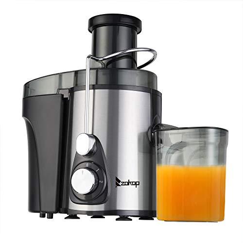 ZOKOP Juicer Machines, Centrifugal Juicer, Juice Extractor 110V 600W 75MM Large Caliber 600ML Juice Cup 1000ML Slag Cup Double Gear Electric Juicer Stainless Steel & BPA-Free