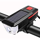 HZFZ Bicycle Light 350 Lumen Solar Bike Light Front USB Chargeable LED Bicycle Lights Bell Waterproof Cycling Lamp Headlight Taillight Set-Red