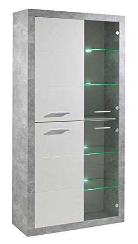 Vitrine, Weiß Glanz Beton Dekor, 4 Türen, inkl. Beleuchtung