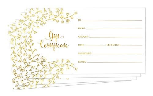 Blank Gift Certificates for Business - 25 Gold Foil Gift Certificate Cards with Envelopes for Spa, Salon, Restaurants, Custom Client Vouchers for Birthday, Work Gift Card - 3.75x7.5