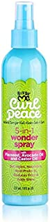 Just for Me Curl Peace 5-In-1 Wonder Spray - Detangles, Nourishes, Heat-Protects, Reduces Frizz, Adds Shine, Contains Flaxseed, Avocado Oil, Castor Oil, No Animal Testing, 8 oz