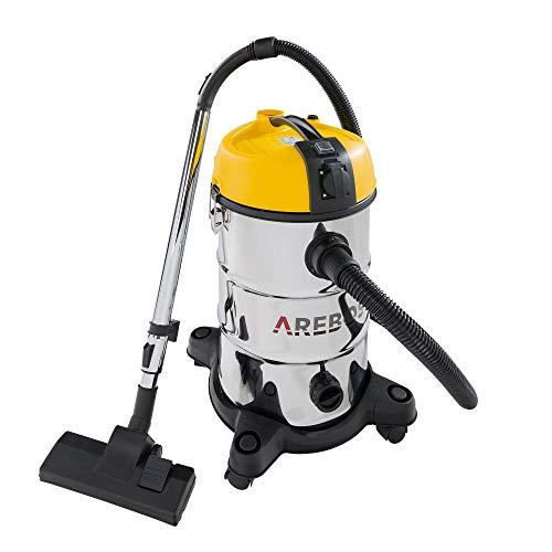 Arebos Industriestaubsauger- Gelb/ 30L Fassungsvermögen/ 2300W/ Mit zusätzlicher Steckdose/Ausblasfunktion/Idealer nass trocken Staubsauger auch zum Asche saugen