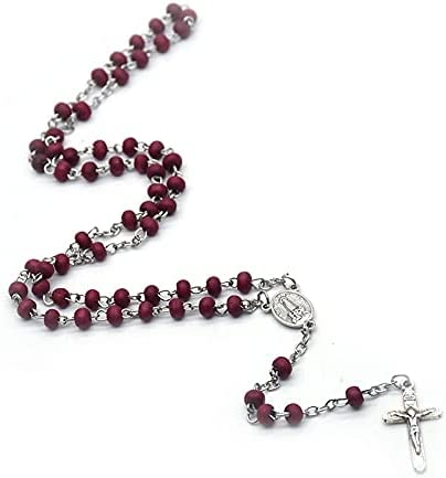 Rose Scented Beads Rosary Necklace Cross Pendants Our Lady of Fatima Necklaces