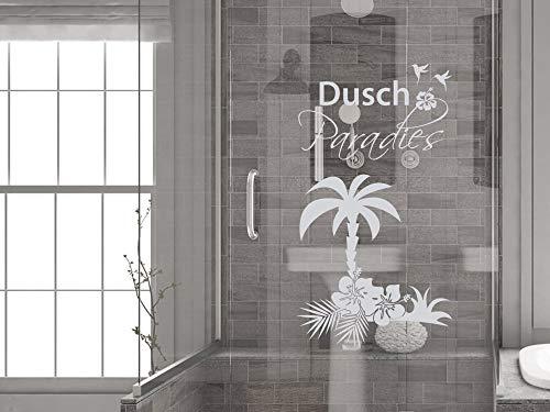 GRAZDesign Fenstertattoo Bad Dusch Paradies mit Palme, Fensterfolie Badezimmer, Glastattoo Dusche Duschkabine / 73x40cm