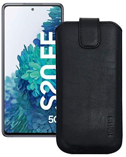 Suncase Leder Tasche kompatibel mit Samsung Galaxy S20 FE (5G) Hülle mit ZUSÄTZLICHER Transparent Hülle | Schale | Silikon Bumper Handytasche (mit Rückzugsfunktion & Magnetverschluss) in schwarz