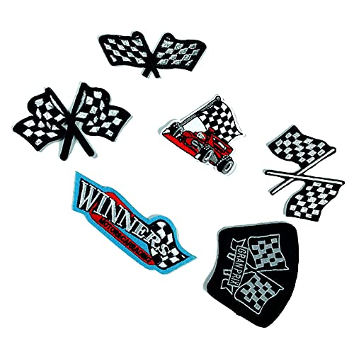 F1 Cycle Racing Winners Flag Iron On Patches Embroidered Sew...