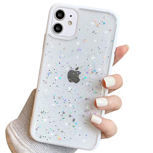 Ownest Compatible with iPhone 11 Case,Clear Sparkly Bling Star Glitter Design for Women Girls Soft TPU Shockproof Anti-Scratch Protective Cases for iPhone 11-White