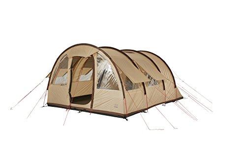 Grand Canyon Parks 5 - Familien-/ Tunnelzelt, für 5 Personen, viel Licht im großen Wohnraum durch Oberlichtfenster, viel Stauraum durch Organizer, teilbare Schlafkabine, Camping, beige, 602015